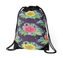 hibiscus surf grape Drawstring Bag