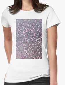 Small pink flowers on silver Womens Fitted T-Shirt