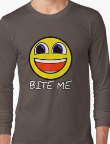 Smile Bite Me - Passive Aggressive Smiley Face Geek Long Sleeve T-Shirt