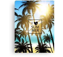 I love summer design with palms and ocean view. Canvas Print
