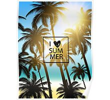 I love summer design with palms and ocean view. Poster