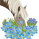 Horse with Blue Flowers by Nicole Florian
