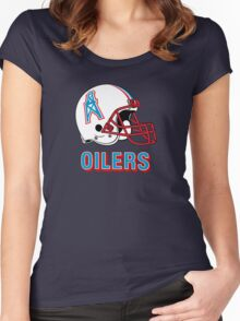 HOUSTON OILERS FOOTBALL RETRO (2) Women's Fitted Scoop T-Shirt