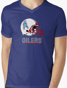 HOUSTON OILERS FOOTBALL RETRO (2) Mens V-Neck T-Shirt
