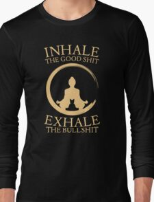 Yoga with cat - inhale - exhale Long Sleeve T-Shirt