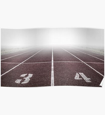 Track and Field Fog Scenery Poster