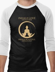 Inhale exhale Yoga With Cat Men's Baseball ¾ T-Shirt
