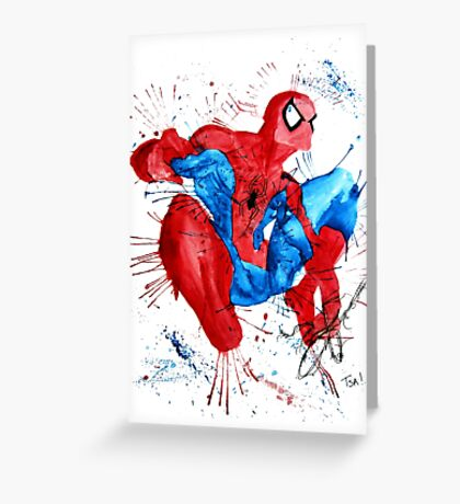 Spider-Man Watercolor Splash Greeting Card
