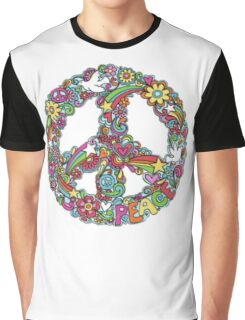 Colourful Peace Sign Graphic T-Shirt