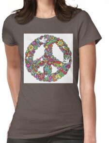 Colourful Peace Sign Womens Fitted T-Shirt