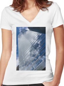 Glossy Glass Reflections - Skyscraper Geometry With Clouds - Left Women's Fitted V-Neck T-Shirt
