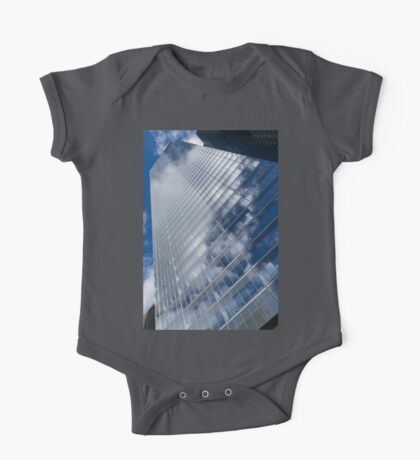 Glossy Glass Reflections - Skyscraper Geometry With Clouds - Left One Piece - Short Sleeve