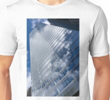 Glossy Glass Reflections - Skyscraper Geometry With Clouds - Left Unisex T-Shirt