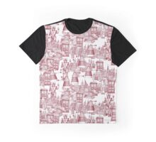 walking doodle toile de jouy red Graphic T-Shirt