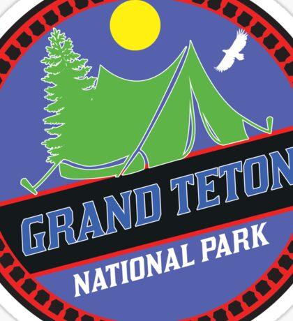 CAMPING GRAND TETON NATIONAL PARK TENT CAMP WYOMING MOUNTAIN MOUNTAINS SUN Sticker