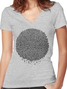 Black Sphere Women's Fitted V-Neck T-Shirt