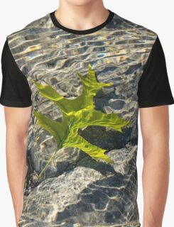 Submerged Beauty - Sunny Rainbows and a Jade Green Oak Leaf Graphic T-Shirt