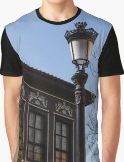 Perfectly Aligned - Intricate Ironwork Streetlight and Classic Revival House Graphic T-Shirt