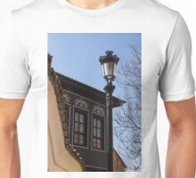 Perfectly Aligned - Intricate Ironwork Streetlight and Classic Revival House Unisex T-Shirt
