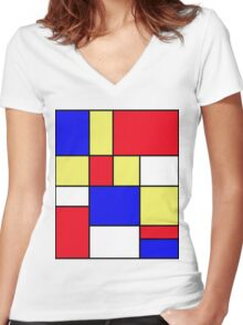 Abstract #412 Mondriaan #9 Women's Fitted V-Neck T-Shirt