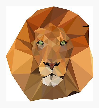 Polygonal Lion Photographic Print
