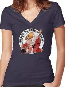 RYU VS KEN - GRACIE JIU-JITSU STYLE Women's Fitted V-Neck T-Shirt