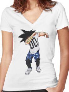 DabGoku Women's Fitted V-Neck T-Shirt