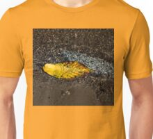 Submerged Beauty - Sunny Ripples on a Multicolored Cherry Leaf Unisex T-Shirt