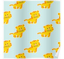 baby pattern with cute tiger Poster