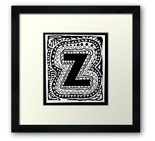 Initial Z Black and White Framed Print