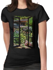 Flowers at the windows Womens Fitted T-Shirt