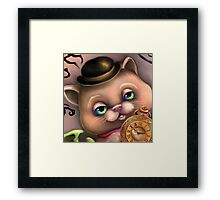 Steampunk Cat in a Bowler Hat - Goth Kitty Framed Print