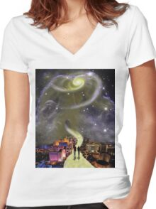 Leaving This World Women's Fitted V-Neck T-Shirt