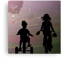 A Bike Ride With My Little Brother Canvas Print