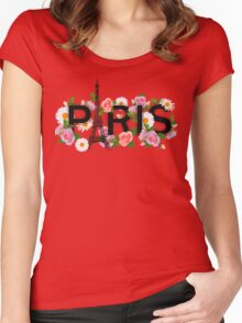 Paris and flowers. Eiffel tower, roses, chamomiles. Women's Fitted Scoop T-Shirt