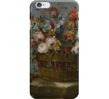 The Pseudo-Guardi STILL LIFE OF A BASKET OF FLOWERS ON A ROCK LEDGE, iPhone Case/Skin