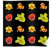 4 tulips pattern Poster