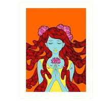 Lotus Flower Girl Art Print