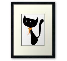 Funny black cat design Framed Print