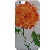 ORANGE CURLICUE ROSE iPhone Case/Skin