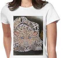 BEAUTIFUL LEOPARD WITH GLOWING BLUE EYES/PASTEL WORK Womens Fitted T-Shirt