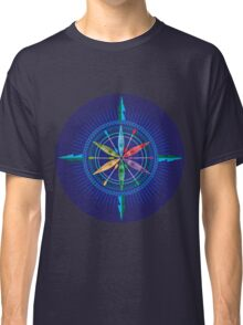 Kayak Compass Rose on blue Classic T-Shirt