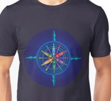 Kayak Compass Rose on blue Unisex T-Shirt