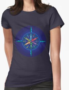 Kayak Compass Rose on blue Womens Fitted T-Shirt