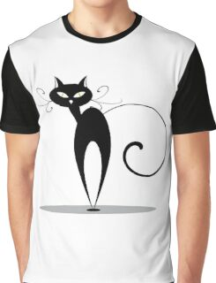 Funny black cat design Graphic T-Shirt