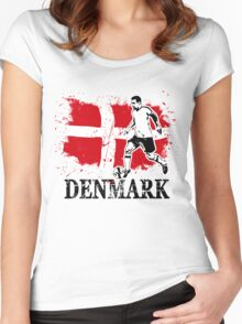 Soccer - Fußball - Denmark Flag Women's Fitted Scoop T-Shirt