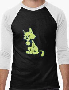 Lime cat Men's Baseball ¾ T-Shirt