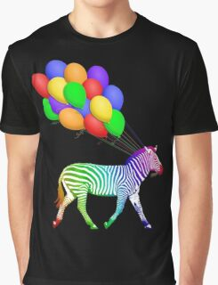 Rainbow Party Zebra - Now with Balloons! Graphic T-Shirt