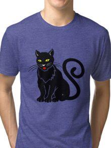 Black cat blue eyeBlack cat Tri-blend T-Shirt