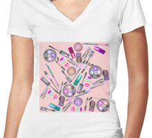 Girly Girl Hand Painted Watercolor Makeup on Pink Women's Fitted V-Neck T-Shirt